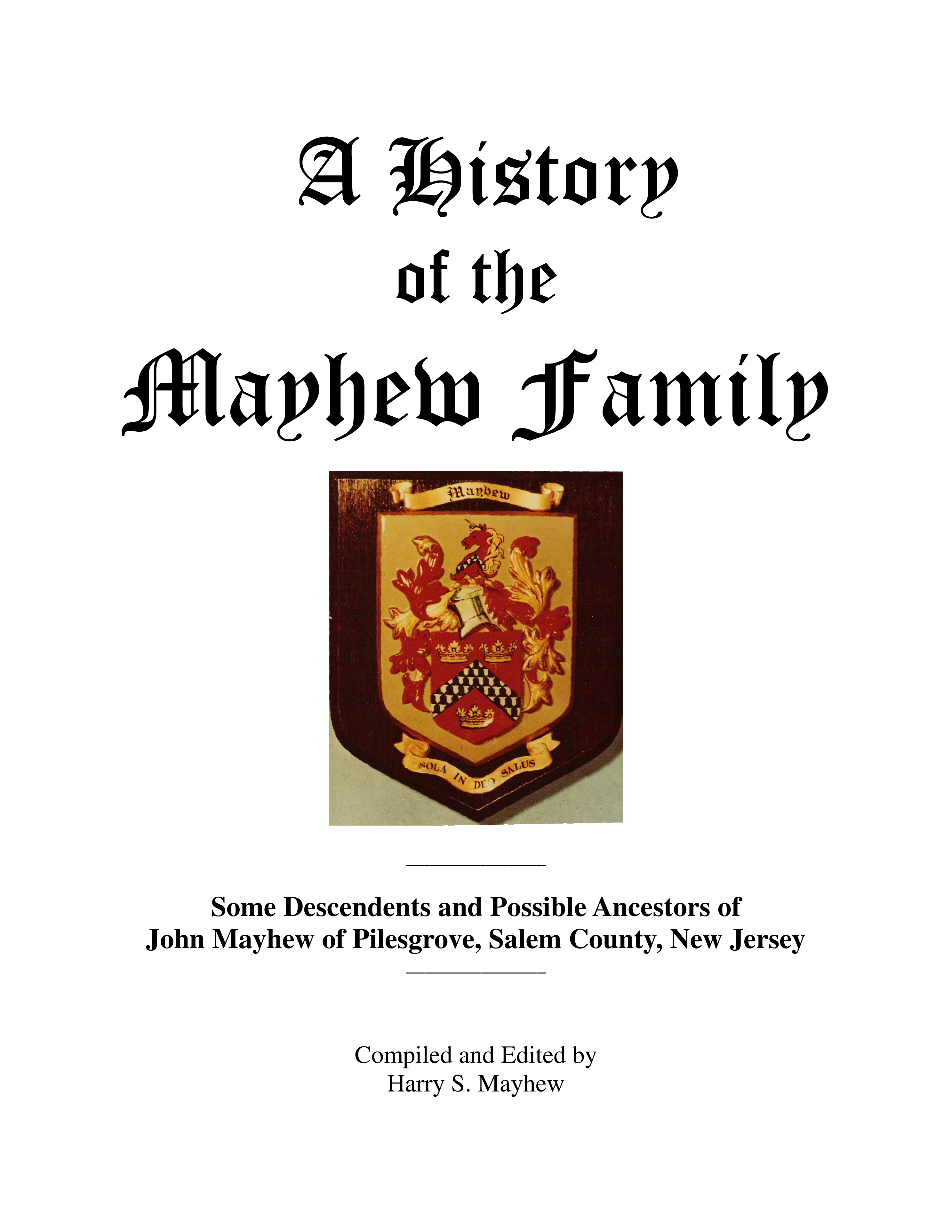 Mayhew Family History Book Cover