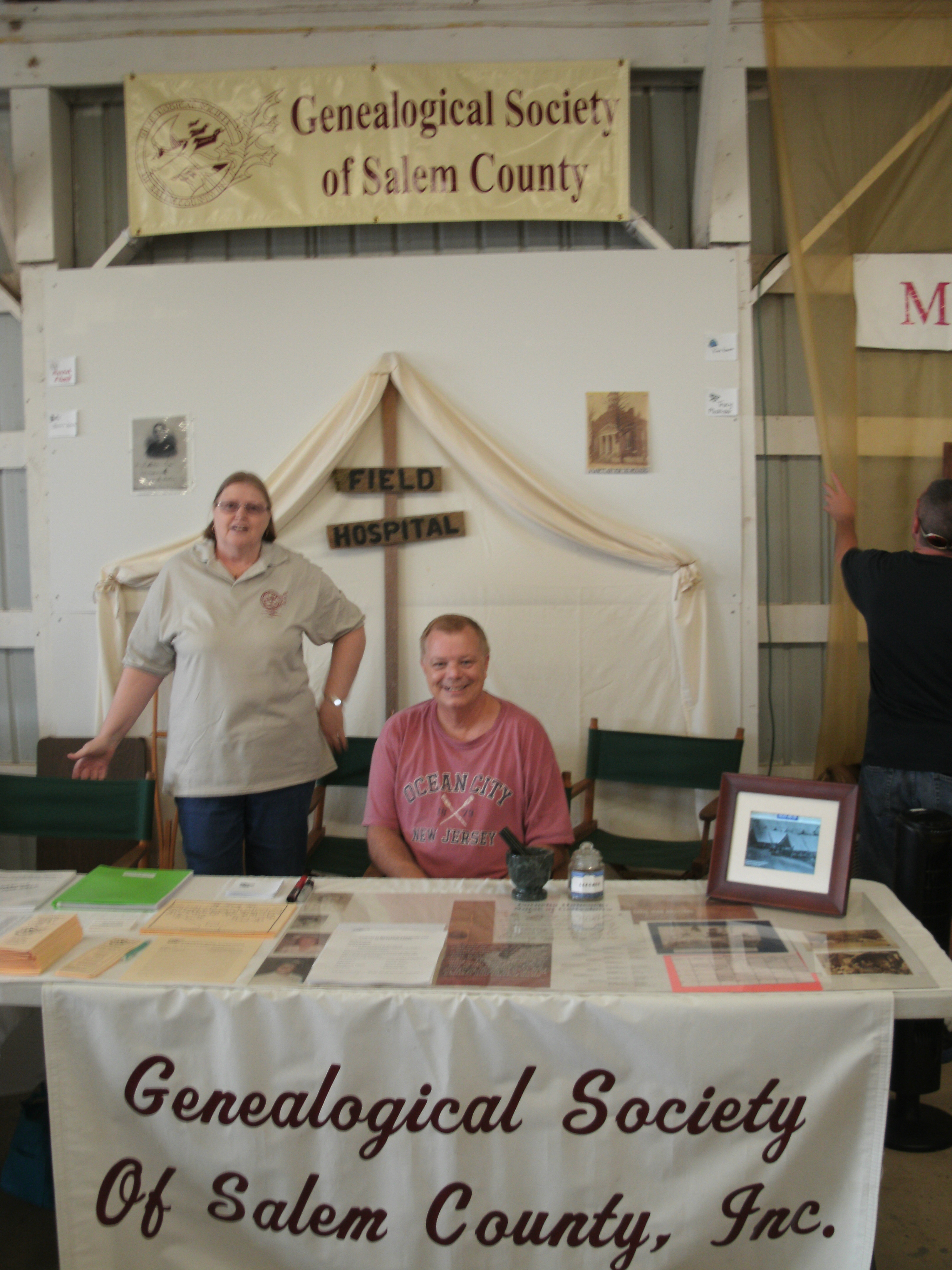 The Genealogical Society's booth at the Salem County Fair this year was modeled after a Civil War Hospital Tent.