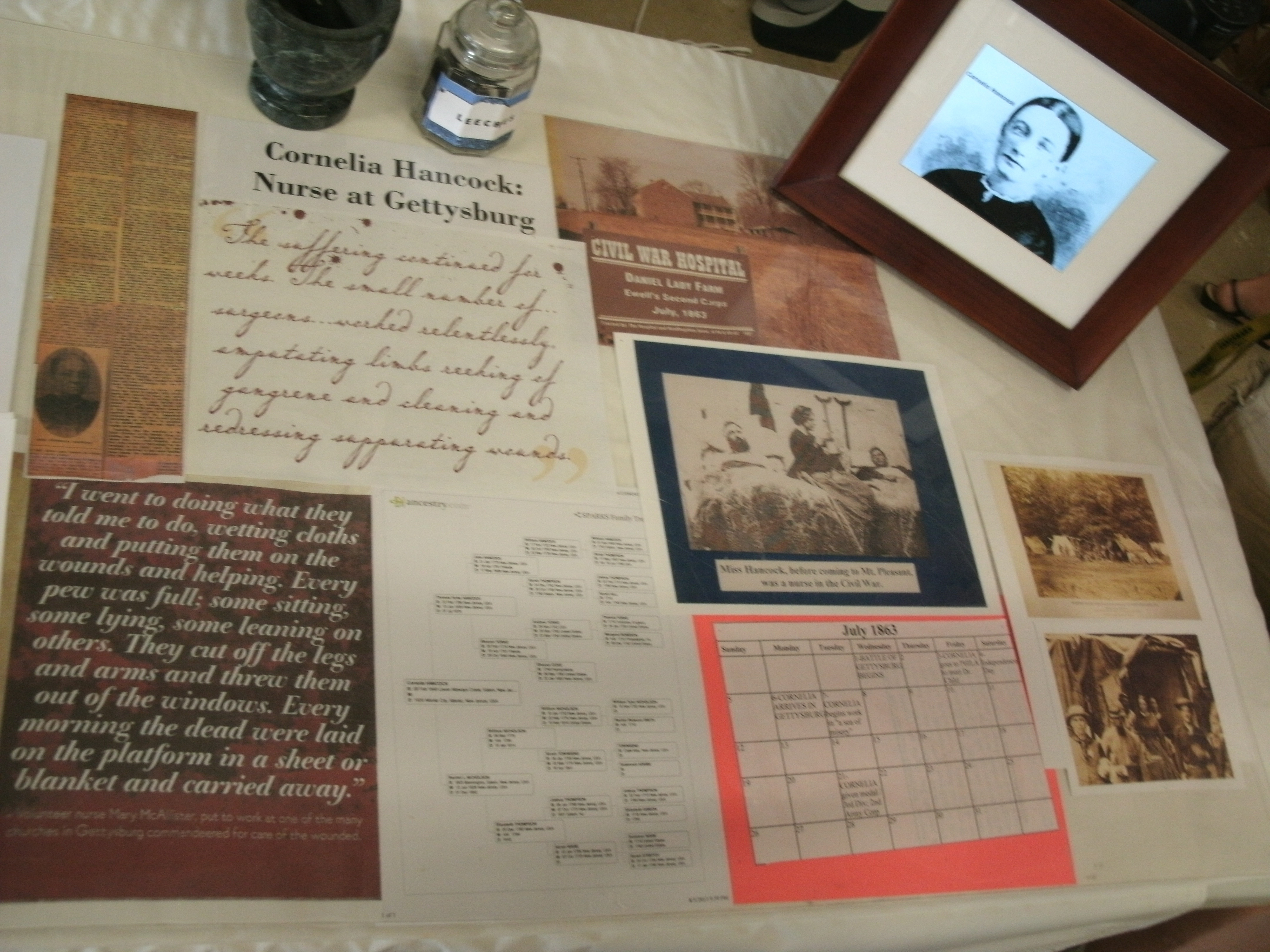 The display included information on the life of Cornelia Hancock, a Salem County native.