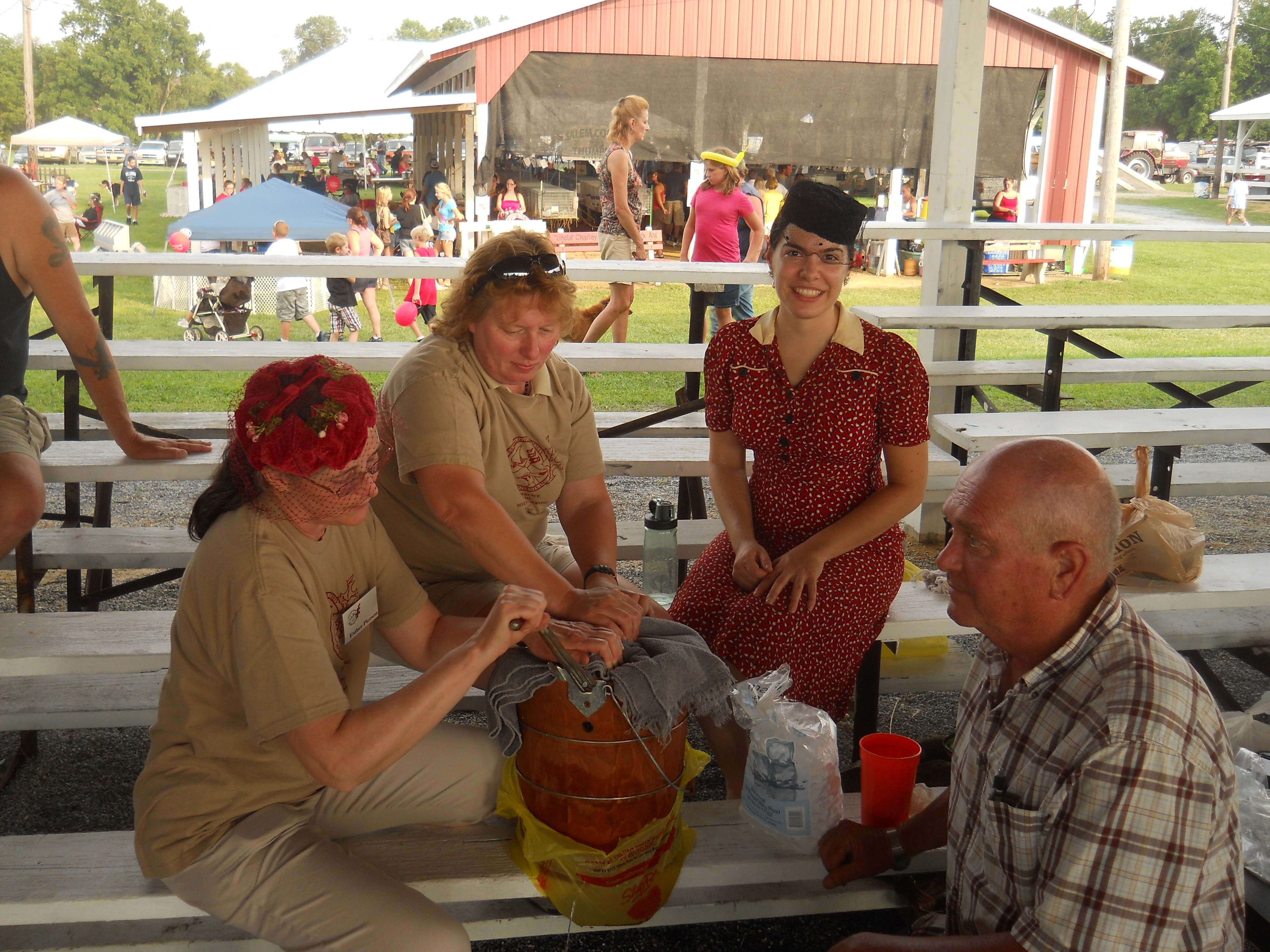 Once again, we participated in the Ice Cream Making contest, with a touch of vintage hats and clothing.